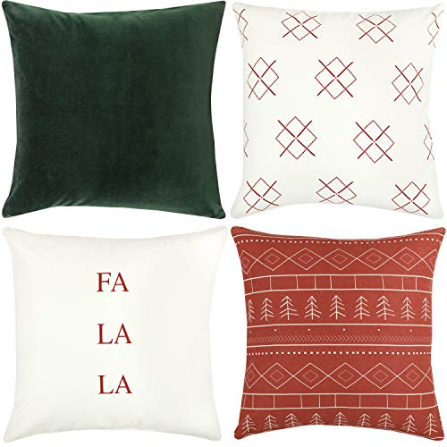 Woven Nook Decorative Throw Pillow Covers ONLY For Couch Sofa Or Bed Set Of 4 18 X 18 Inch Modern Quality Design 100 Cotton Green Red Christmas Noel 0