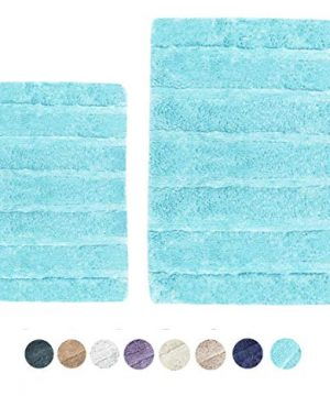 Woven St Tufted Luxury Cotton 2 Piece Bath Rugs Set Super Soft For Spa Vanity Shower Machine Washable For BathroomKitchen Water Absorbent Anti Skid Bedroom Area Rugs 17x24 21x34 Turquoise 0 300x360