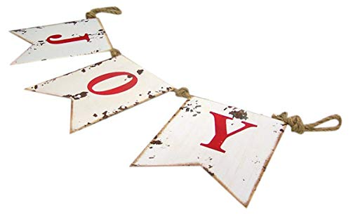 Wowser Distressed Painted Metal Joy Hanging Decorative Banner Sign 35 Inch 0 0
