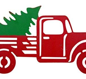 Wowser Rustic Distressed Hanging Red Truck With Christmas Tree Sign Pack Of 2 11 34 Inch 0 1 300x277