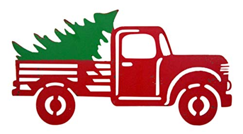 Wowser Rustic Distressed Hanging Red Truck With Christmas Tree Sign Pack Of 2 11 34 Inch 0 1