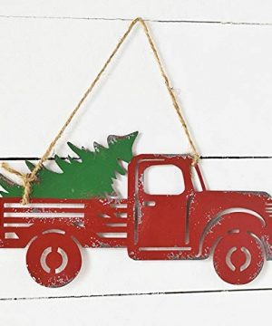 Wowser Rustic Distressed Hanging Red Truck With Christmas Tree Sign Pack Of 2 11 34 Inch 0 3 300x360