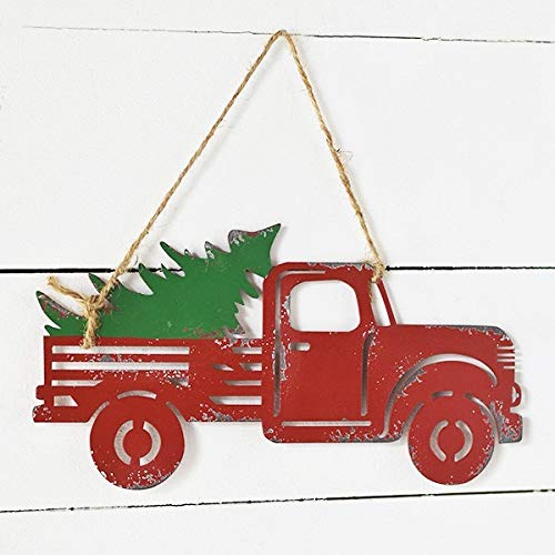 Wowser Rustic Distressed Hanging Red Truck With Christmas Tree Sign Pack Of 2 11 34 Inch 0 3
