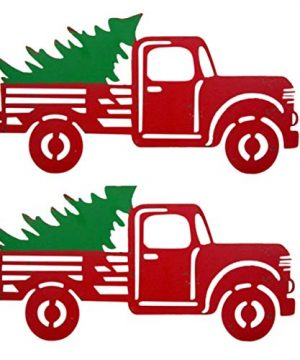 Wowser Rustic Distressed Hanging Red Truck With Christmas Tree Sign Pack Of 2 11 34 Inch 0 300x360