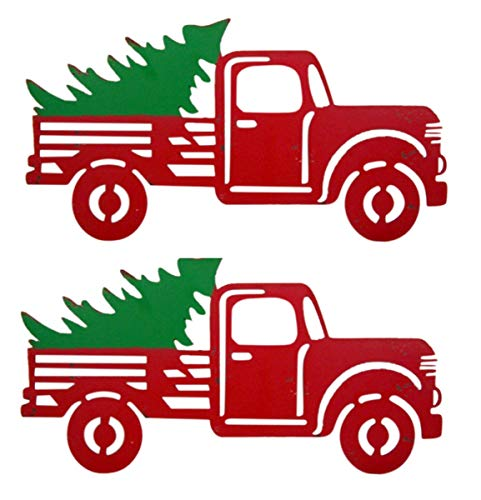 Wowser Rustic Distressed Hanging Red Truck With Christmas Tree Sign Pack Of 2 11 34 Inch 0