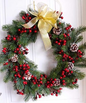 Wreath Nearly Real 20 Inches Pine Pip Berry Wreath Christmas Greenery Wreath Faux Foliage Wreath Large Artificial Rustic Farmhouse For Front Door Window Round Green Red 0 300x360