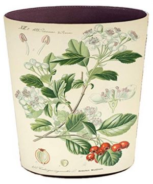 Xshion WastebasketRetro Decorative Trash Can Waterproof PU Leather Waste Paper Basket Kitchen Garbage Can Office Waste Bin Living Room Recycle Bin Bedroom Dustbin Waste Container Cherry Flower 0 300x360