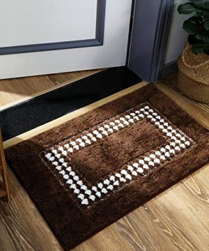 YUMEI Original Small Bath Mats For Bathroom Floor Rug Soft And Shaggy Super Absorbent Water Non Slip Machine Washable Bath Rugs For Bedroom And Kitchen Brown16X24Inches 0 0 300x360