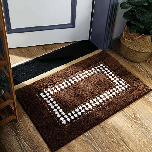 YUMEI Original Small Bath Mats For Bathroom Floor Rug Soft And Shaggy Super Absorbent Water Non Slip Machine Washable Bath Rugs For Bedroom And Kitchen Brown16X24Inches 0 0