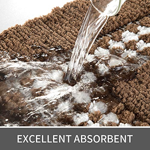 YUMEI Original Small Bath Mats For Bathroom Floor Rug Soft And Shaggy Super Absorbent Water Non Slip Machine Washable Bath Rugs For Bedroom And Kitchen Brown16X24Inches 0 2