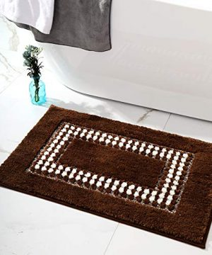 YUMEI Original Small Bath Mats For Bathroom Floor Rug Soft And Shaggy Super Absorbent Water Non Slip Machine Washable Bath Rugs For Bedroom And Kitchen Brown16X24Inches 0 300x360