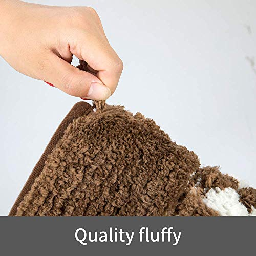 YUMEI Original Small Bath Mats For Bathroom Floor Rug Soft And Shaggy Super Absorbent Water Non Slip Machine Washable Bath Rugs For Bedroom And Kitchen Brown16X24Inches 0 4