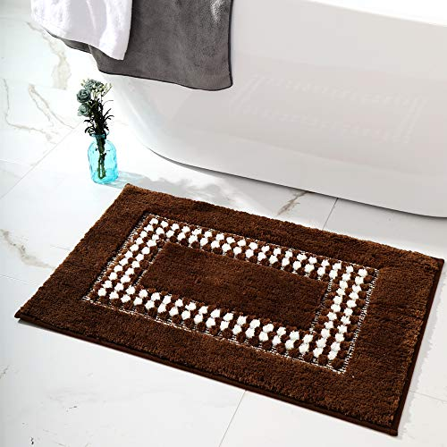 YUMEI Original Small Bath Mats For Bathroom Floor Rug Soft And Shaggy Super Absorbent Water Non Slip Machine Washable Bath Rugs For Bedroom And Kitchen Brown16X24Inches 0