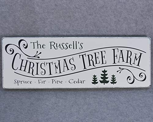 YYcharm Personalized Christmas Tree Farm Wood Sign Rustic Farmhouse Style Last Name Sign Christmas Decor Family Name Holiday Decor Rustic Wood Sign 0