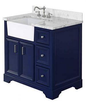 Zelda 36 Inch Bathroom Vanity CarraraRoyal Blue Includes A Carrara Marble Countertop Royal Blue Cabinet With Soft Close Doors Drawers And White Ceramic Farmhouse Apron Sink 0 0 300x360