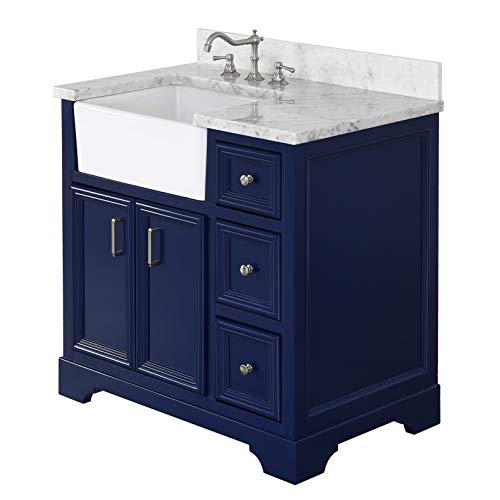 Zelda 36 Inch Bathroom Vanity CarraraRoyal Blue Includes A Carrara Marble Countertop Royal Blue Cabinet With Soft Close Doors Drawers And White Ceramic Farmhouse Apron Sink 0 0