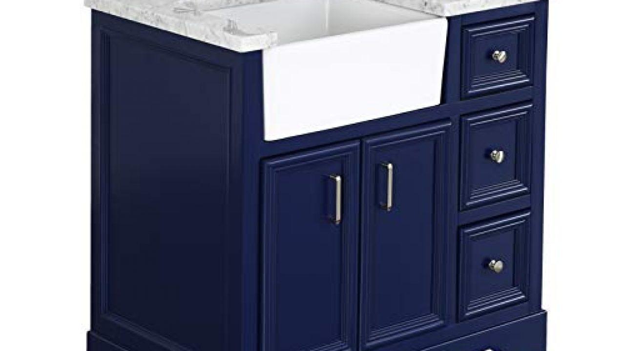 Zelda 36 Inch Bathroom Vanity Carrara Royal Blue Includes Royal Blue Cabinet With Authentic Italian Carrara Marble Farmhouse Goals