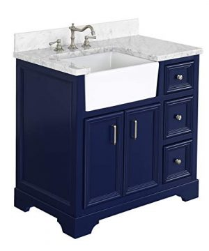 Zelda 36 Inch Bathroom Vanity CarraraRoyal Blue Includes A Carrara Marble Countertop Royal Blue Cabinet With Soft Close Doors Drawers And White Ceramic Farmhouse Apron Sink 0 300x360