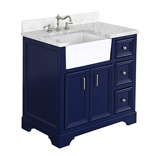 Zelda 36 Inch Bathroom Vanity CarraraRoyal Blue Includes A Carrara Marble Countertop Royal Blue Cabinet With Soft Close Doors Drawers And White Ceramic Farmhouse Apron Sink 0