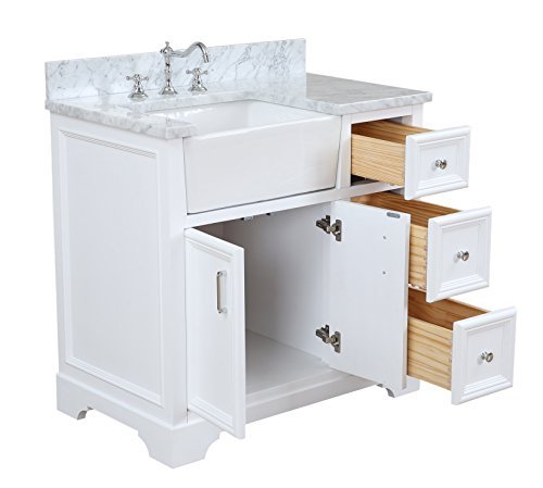 Zelda 36 Inch Bathroom Vanity Carrara White Includes White Cabinet With Authentic Italian Carrara Marble Countertop Farmhouse Goals