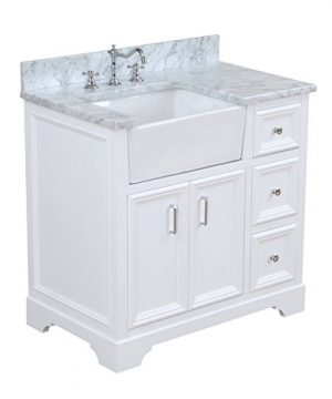 Zelda 36 Inch Bathroom Vanity CarraraWhite Includes A Carrara Marble Countertop White Cabinet With Soft Close Doors Drawers And White Ceramic Farmhouse Apron Sink 0 300x360