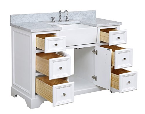 Zelda 48 Inch Bathroom Vanity Carrara White Includes White Cabinet With Authentic Italian Carrara Marble Countertop Farmhouse Goals