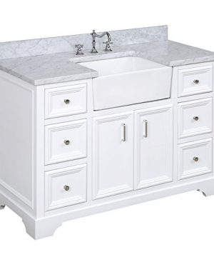 Zelda 48 Inch Bathroom Vanity CarraraWhite Includes A Carrara Marble Countertop White Cabinet With Soft Close Doors Drawers And White Ceramic Farmhouse Apron Sink 0 300x360