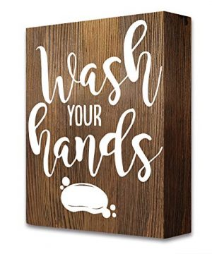Akeke Wash Your Hands Farmhouse Funny Quotes Bathroom Wooden Box Signs Plaque Decor 0 300x360