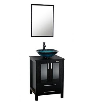 Eclife 24 Modern Bathroom Vanity And Sink Combo Stand Cabinet Bowl Turquoise Glass Vessel Sink 15 GPM Bathroom Brass Faucet And Brass Pop Up Drain A10B02 0 300x360