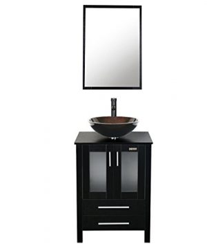 Eclife 24 Inch Bathroom Vanity Combo Modern MDF Cabinet With Vanity Mirror Tempered Glass Counter Top Vessel Sink With 15 GPM Faucet And Pop Up Drain A1B2 0 300x360