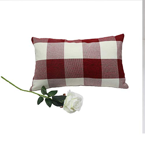 Famibay Set Of 2Classic Farmhouse Pillow Coves Buffalo Check Pillowcase Cotton Linen Plaid Couch Cushion Covers Decorative Christmas Retro Throw Pillow Covers For Living Room 0 3