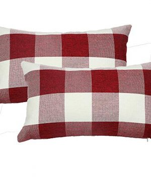 Famibay Set Of 2Classic Farmhouse Pillow Coves Buffalo Check Pillowcase Cotton Linen Plaid Couch Cushion Covers Decorative Christmas Retro Throw Pillow Covers For Living Room 0 300x360