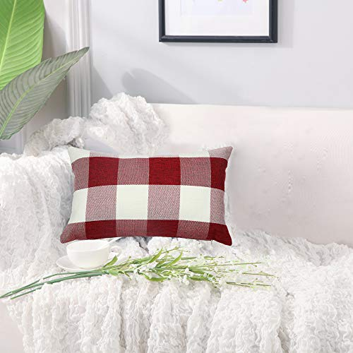 Famibay Set Of 2Classic Farmhouse Pillow Coves Buffalo Check Pillowcase Cotton Linen Plaid Couch Cushion Covers Decorative Christmas Retro Throw Pillow Covers For Living Room 0 4