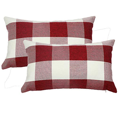 Famibay Set Of 2Classic Farmhouse Pillow Coves Buffalo Check Pillowcase Cotton Linen Plaid Couch Cushion Covers Decorative Christmas Retro Throw Pillow Covers For Living Room 0