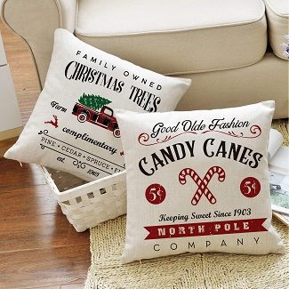 farmhouse christmas throw pillow