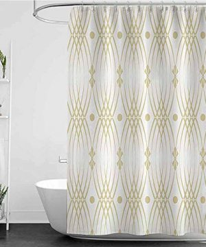 Homecoco Shower Curtains Octopus Beige Decor CollectionClassic Interlocking Motifs Linked Dramatic Patterns Ethnique Nostalgic Style Old WorldBeige White W69 X L90Shower Curtain For Clawfoot Tub 0 300x360