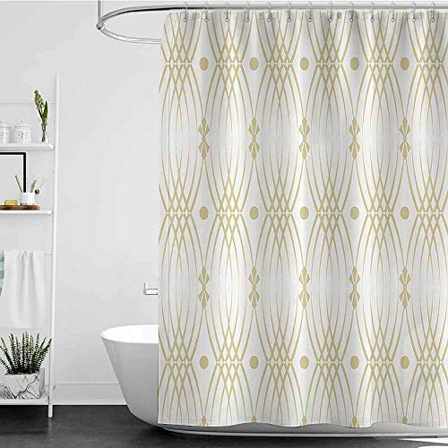 Homecoco Shower Curtains Octopus Beige Decor CollectionClassic Interlocking Motifs Linked Dramatic Patterns Ethnique Nostalgic Style Old WorldBeige White W69 X L90Shower Curtain For Clawfoot Tub 0