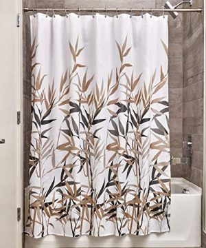 IDesign Anzu Fabric Shower Curtain Water Repellent And Mold And Mildew Resistant For Master Guest Kids College Dorm Bathroom 72 X 72 Black And Tan 0 300x360