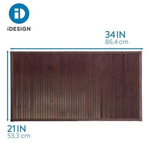 IDesign Formbu Bamboo Floor Mat Non Skid Water Resistant Runner Rug For Bathroom Kitchen Entryway Hallway Office Mudroom Vanity 34 X 21 Mocha Brown 0 1