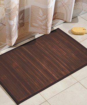 IDesign Formbu Bamboo Floor Mat Non Skid Water Resistant Runner Rug For Bathroom Kitchen Entryway Hallway Office Mudroom Vanity 34 X 21 Mocha Brown 0 300x360