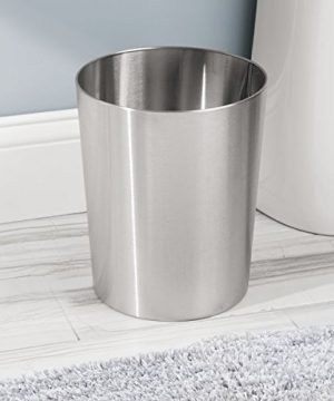 IDesign Patton Round Metal Trash Can Waste Basket Garbage Can For Bathroom Bedroom Home Office Dorm College 8 X 8 X 97 Brushed Stainless Steel 0 0 300x360