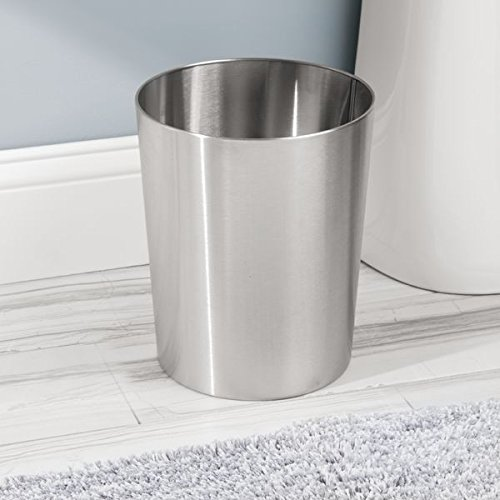 IDesign Patton Round Metal Trash Can Waste Basket Garbage Can For Bathroom Bedroom Home Office Dorm College 8 X 8 X 97 Brushed Stainless Steel 0 0