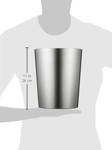 IDesign Patton Round Metal Trash Can Waste Basket Garbage Can For Bathroom Bedroom Home Office Dorm College 8 X 8 X 97 Brushed Stainless Steel 0 1