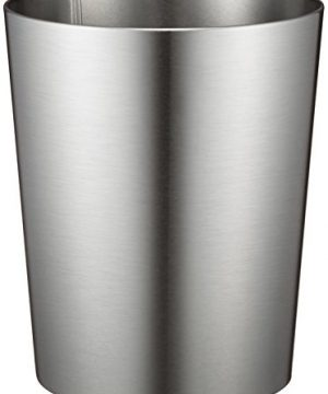 IDesign Patton Round Metal Trash Can Waste Basket Garbage Can For Bathroom Bedroom Home Office Dorm College 8 X 8 X 97 Brushed Stainless Steel 0 300x360