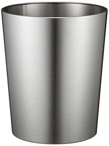 IDesign Patton Round Metal Trash Can Waste Basket Garbage Can For Bathroom Bedroom Home Office Dorm College 8 X 8 X 97 Brushed Stainless Steel 0