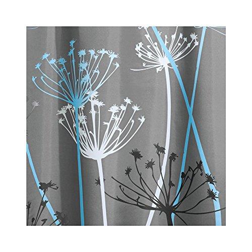 IDesign Thistle Fabric Shower Curtain Modern Mildew Resistant Bath Curtain For Master Bathroom Kids Bathroom Guest Bathroom 72 X 72 Inches Gray And Blue 0 0