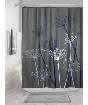 IDesign Thistle Fabric Shower Curtain Modern Mildew Resistant Bath Curtain For Master Bathroom Kids Bathroom Guest Bathroom 72 X 72 Inches Gray And Purple 0 300x360