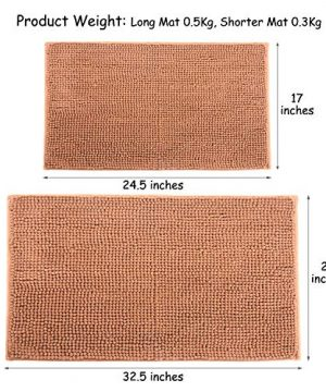 IHomey Bathroom Mat Bath RugChenille Material Non Slip Backing Nontoxic Odorless Machine Washable Size 43x62cm And 50x82cm2 Pieces Coffee 0 0 300x360