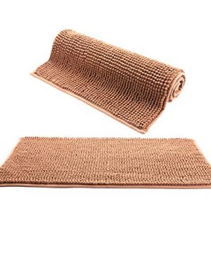 IHomey Bathroom Mat Bath RugChenille Material Non Slip Backing Nontoxic Odorless Machine Washable Size 43x62cm And 50x82cm2 Pieces Coffee 0 300x360