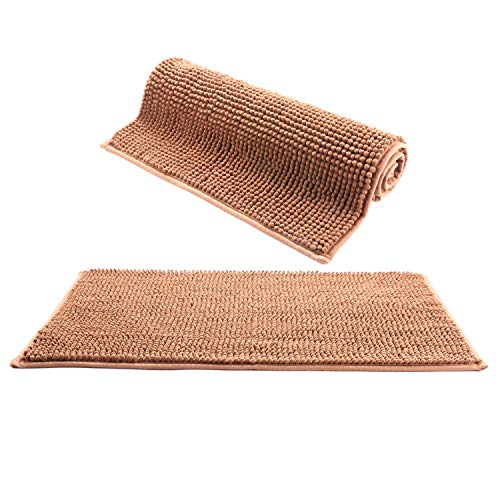 IHomey Bathroom Mat Bath RugChenille Material Non Slip Backing Nontoxic Odorless Machine Washable Size 43x62cm And 50x82cm2 Pieces Coffee 0
